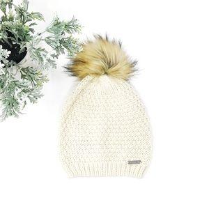 Lauren Ralph Lauren Faux Fur Pom Pom Knit Hat EUC
